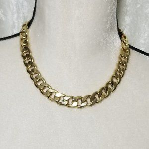Vintage Bold Curb-Link-Curb Choker Necklace